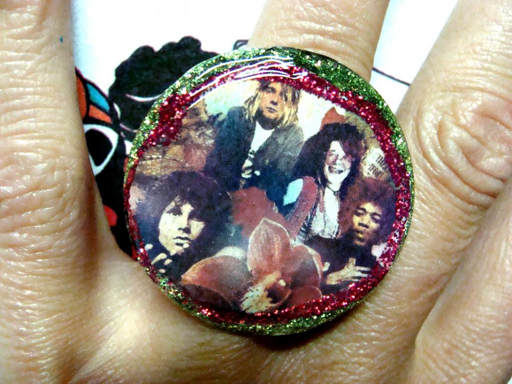 FOREVER 27 CLUB glitter resin ooak ring