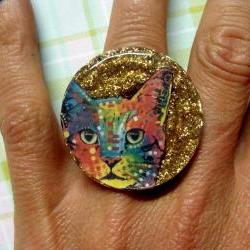 CAT psychedelic glitter resin ring ooak