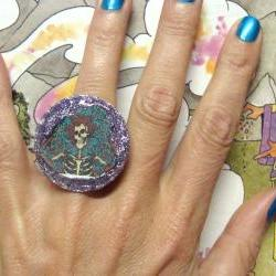GRATEFUL DEAD glitter resin ooak psychedelic ring