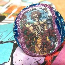 GRATEFUL DEAD skeleton glitter resin ooak psychedelic ring