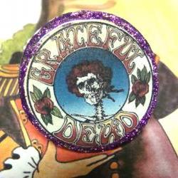 GRATEFUL DEAD LOGO glitter resin ooak psychedelic ring