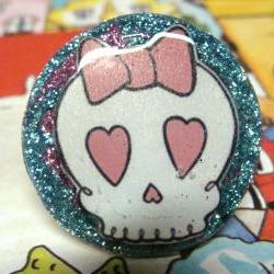 SWEET SKULL glitter resin ooak handmade ring